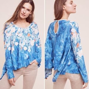 Meadow Rue Linen Field Ombre Floral LS Top Blue Sm